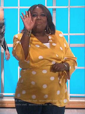 Sheryl's yellow polka dot wrap top on The Talk