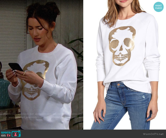 Zadig & Voltaire Metallic Skull Sweatshirt worn by Steffy Forrester (Jacqueline MacInnes Wood) on The Bold & the Beautiful