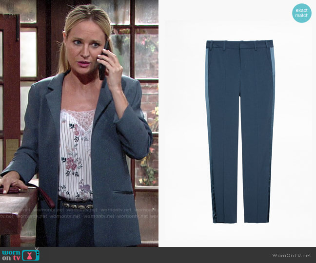 Zadig & Voltaire Prune Satin Trousers worn by Sharon Collins (Sharon Case) on The Young & the Restless