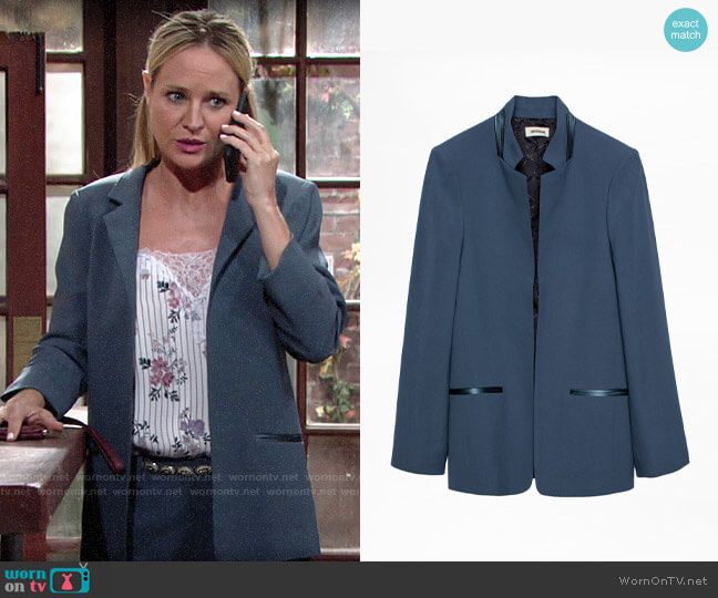 Zadig & Voltaire Volly Satin Blazer worn by Sharon Collins (Sharon Case) on The Young & the Restless