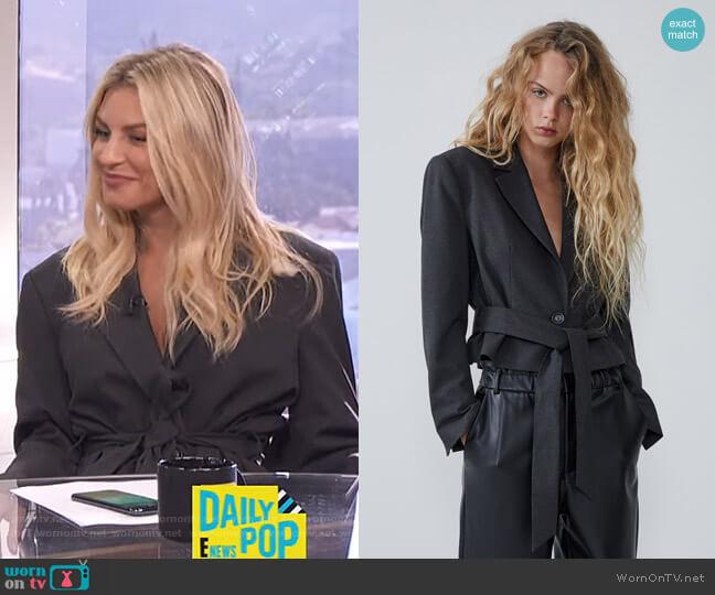 Belted Blazer with Shoulder Pads by Zara worn by Morgan Stewart  on E! News
