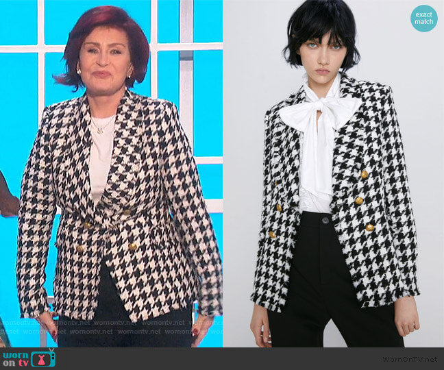 Houndstooth Jacket by Zara worn by Sharon Osbourne  on The Talk