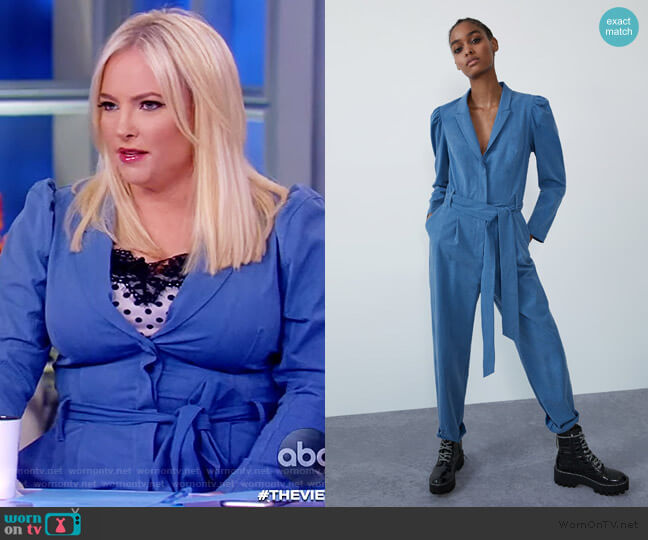 Long Belted Jumpsuit by Zara worn by Meghan McCain  on The View