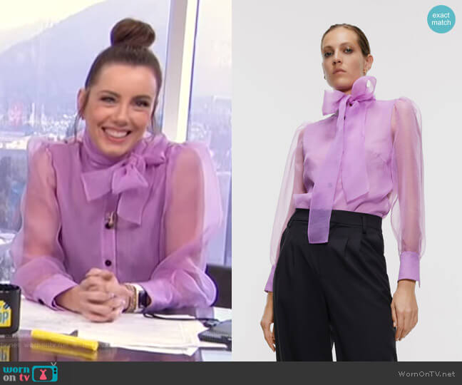 Organza Blouse with Bow Detail by Zara worn by Melanie Bromley  on E! News