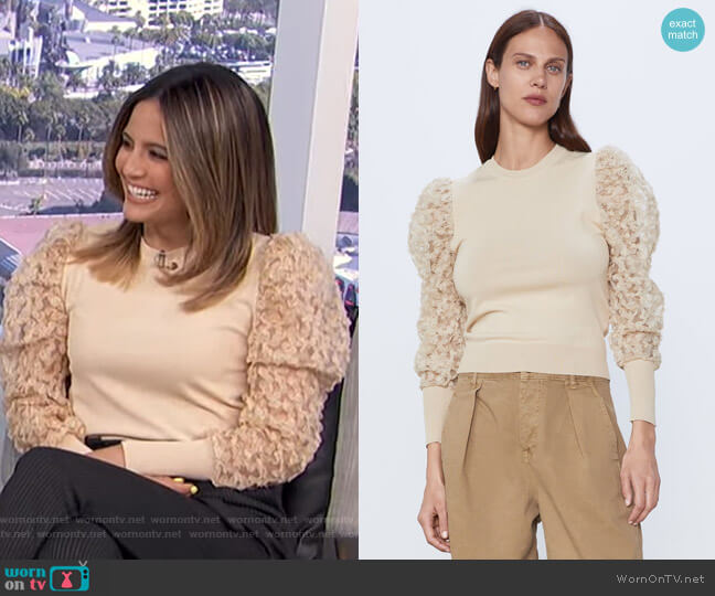 Tulle Sleeve Sweater by Zara worn by Erin Lim  on E! News