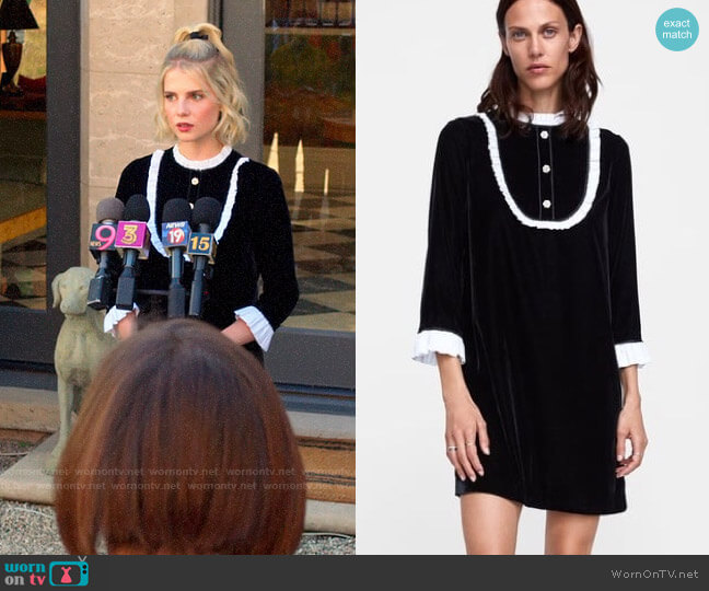 Zara Contrasting Velvet Black and White Dress worn by Astrid (Lucy Boynton) on The Politician