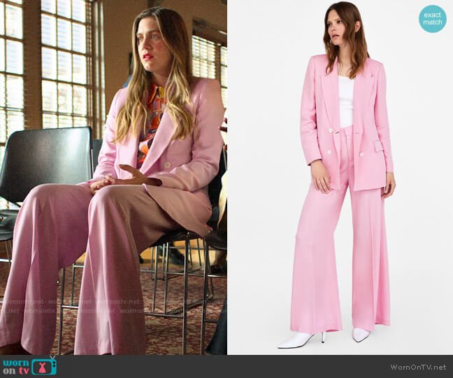 Zara Pink Double Breasted Blazer and Wide Leg Trousers worn by McAfee (Laura Dreyfuss) on The Politician
