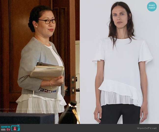 Zara Pleated Ruffled Top worn by Sherri Kansky (Ruthie Ann Miles) on All Rise