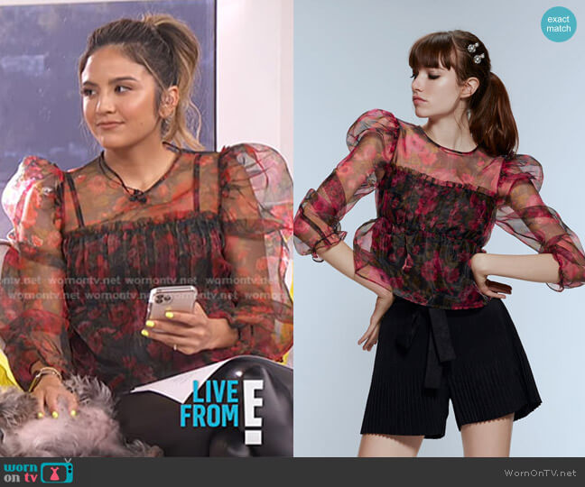 Printed Organza Blouse by Zara worn by Erin Lim  on E! News