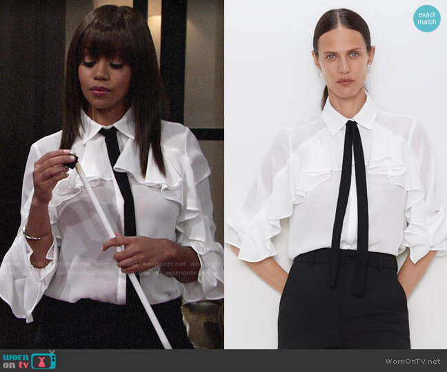 Zara Ruffled Shirt with Bow worn by Amanda Sinclair (Mishael Morgan) on The Young & the Restless