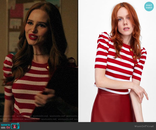 Zara Striped Top with Balloon Sleeves worn by Cheryl Blossom (Madelaine Petsch) on Riverdale