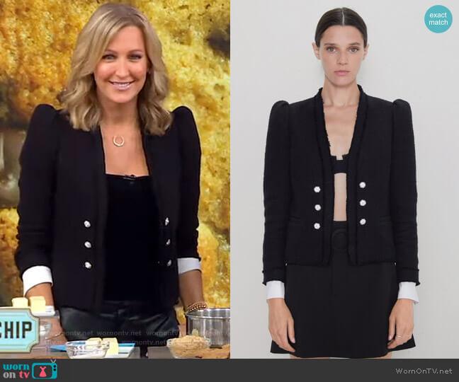 Tweed Poplin Jacket by Zara worn by Lara Spencer  on Good Morning America