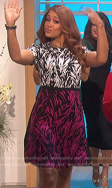 Eve's colorblock zebra stripe dress on The Talk