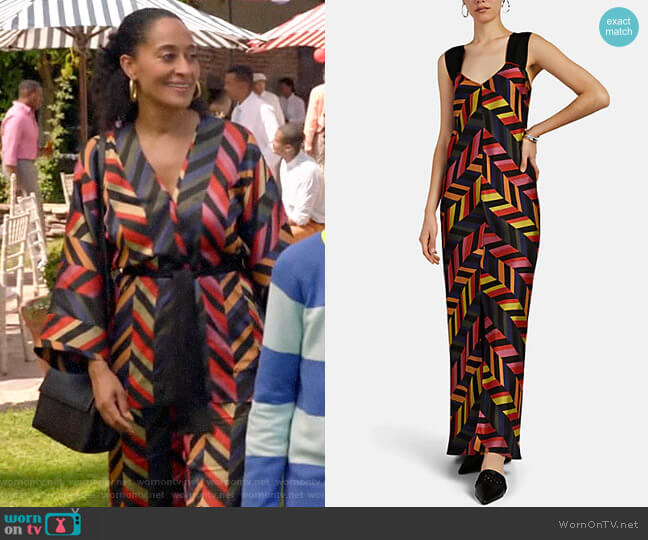Zero + Maria Cornejo Alexia Chevron Jacquard Maxi Dress worn by Rainbow Johnson (Tracee Ellis Ross) on Blackish