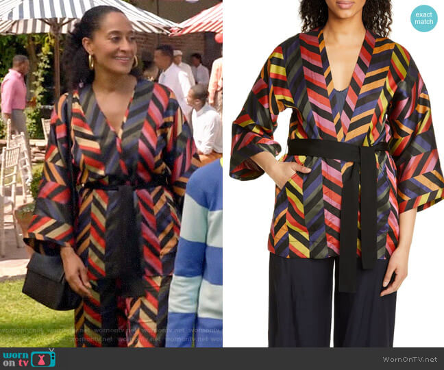 Zero + Maria Cornejo Oki Chevron Jacquard Jacket worn by Rainbow Johnson (Tracee Ellis Ross) on Blackish