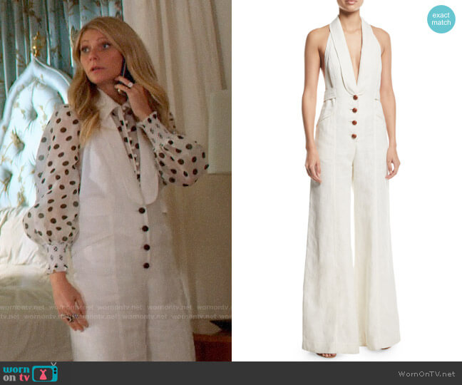 Zimmermann Corsage Tailored Wide-Leg Linen Jumpsuit worn by Georgina Hobart (Gwyneth Paltrow) on The Politician
