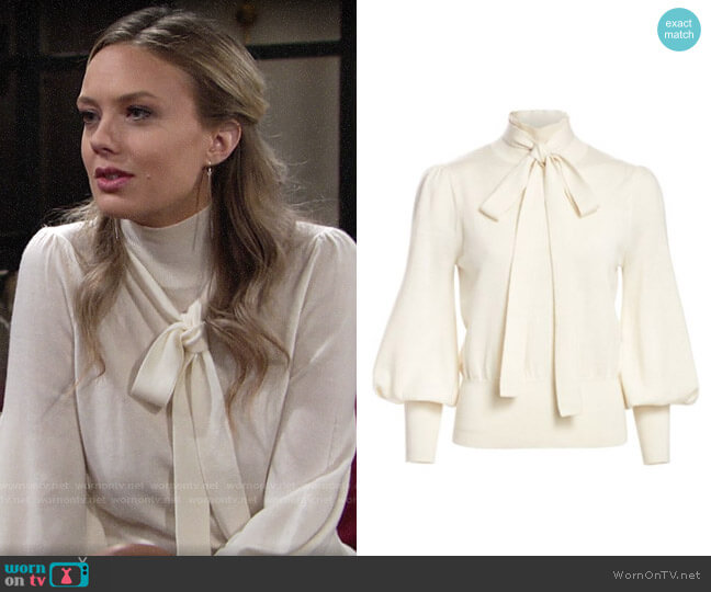 Zimmermann Eye Spy Tieneck Merino Wool Sweater worn by Abby Newman (Melissa Ordway) on The Young & the Restless