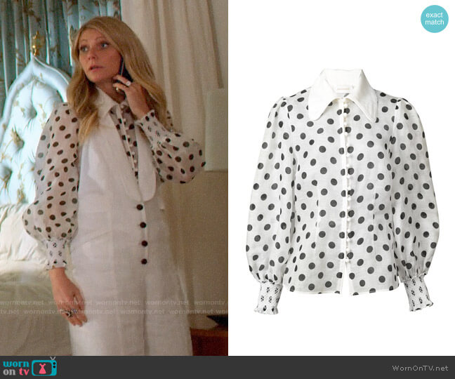 Zimmermann Polka Dot Blouse worn by Georgina Hobart (Gwyneth Paltrow) on The Politician