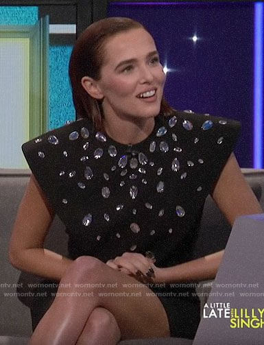 Zoey Deutch's balck crystal embellished dress on A Little Late with Lilly Singh