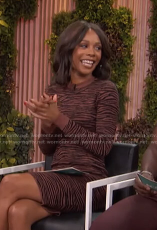 Zuri's brown zebra print knit dress on Access Hollywood