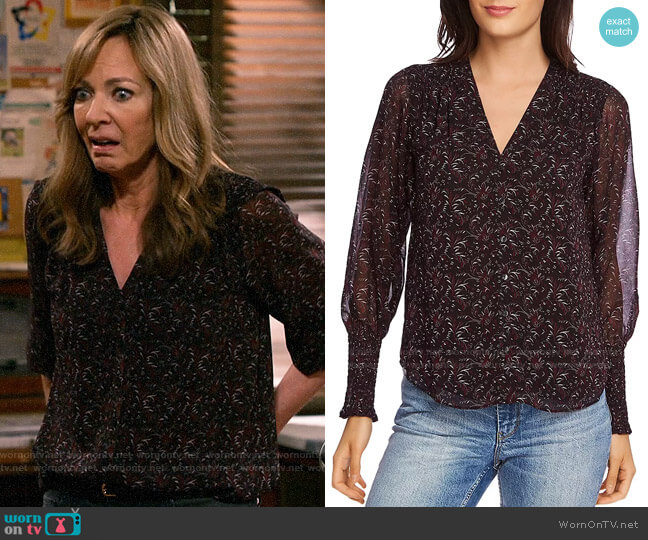 1.State Printed Smocked-Sleeve Blouse worn by Bonnie Plunkett (Allison Janney) on Mom