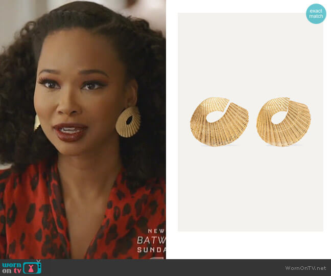 Gold-Plated Earrings by 1064 Studio worn by Monica Colby (Wakeema Hollis) on Dynasty