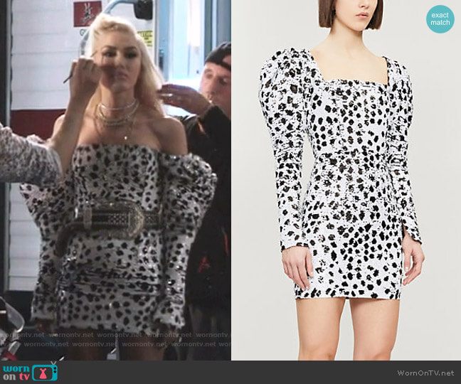Puffed-Shoulder Sequinned Dress by 16 Arlington worn by Gwen Stefani  on The Voice