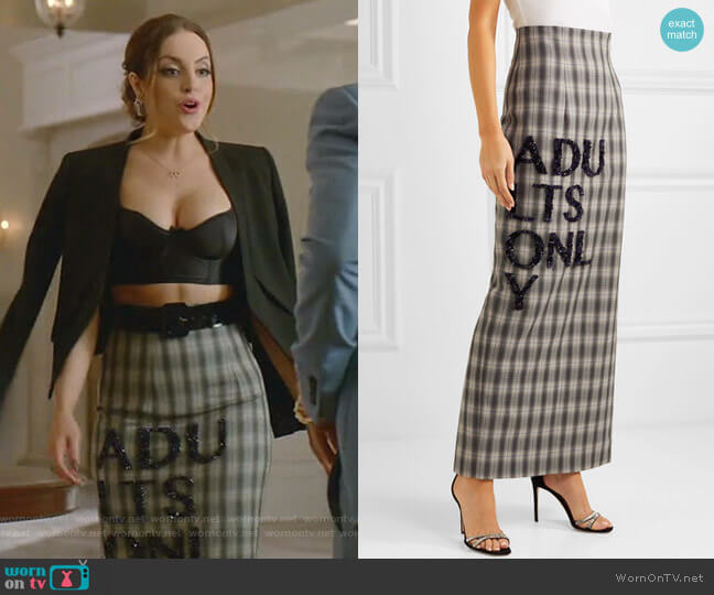 Embellished Checked Crepe Maxi Skirt by 16 Arlington worn by Fallon Carrington (Elizabeth Gillies) on Dynasty