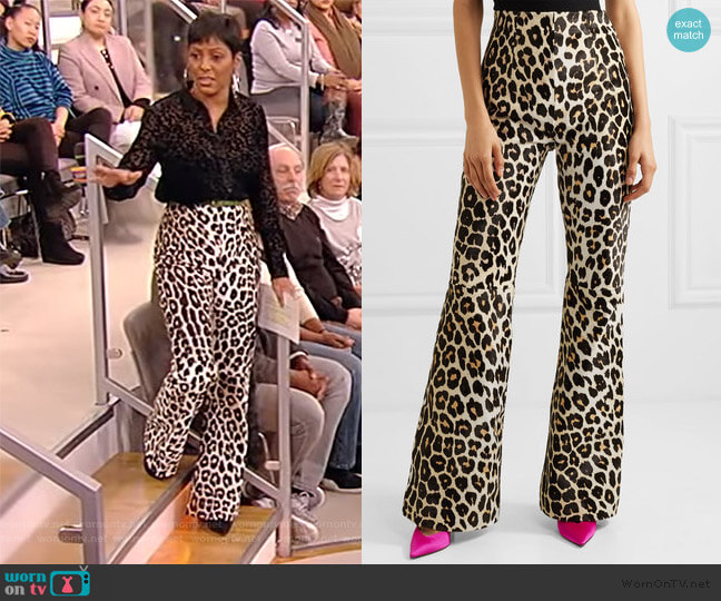 Newman leopard-print calf hair flared pants by 16Arlington worn by Tamron Hall  on Tamron Hall Show