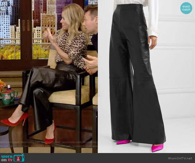 Marvin Leather Wide-Leg Pants by 16Arlington worn by Kelly Ripa  on Live with Kelly & Ryan