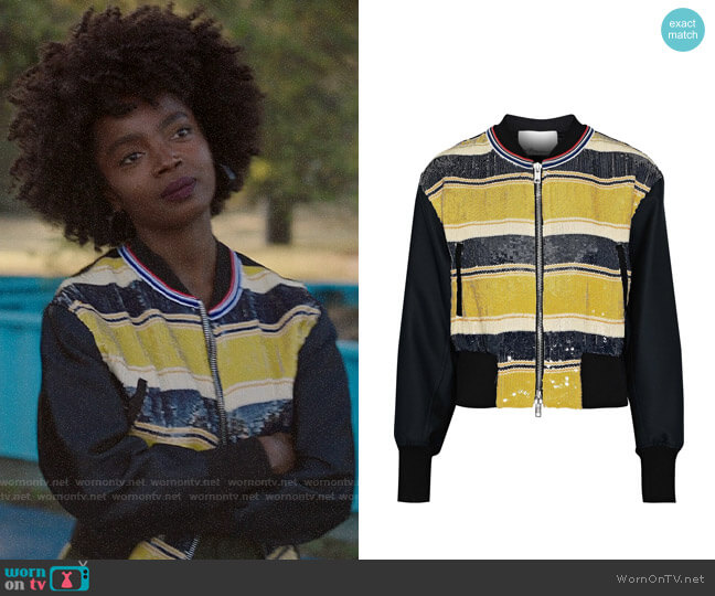 3.1 Phillip Lim Striped sequined gauze and duchesse-satin bomber jacket worn by Briana Johnson (MaameYaa Boafo) on Bluff City Law