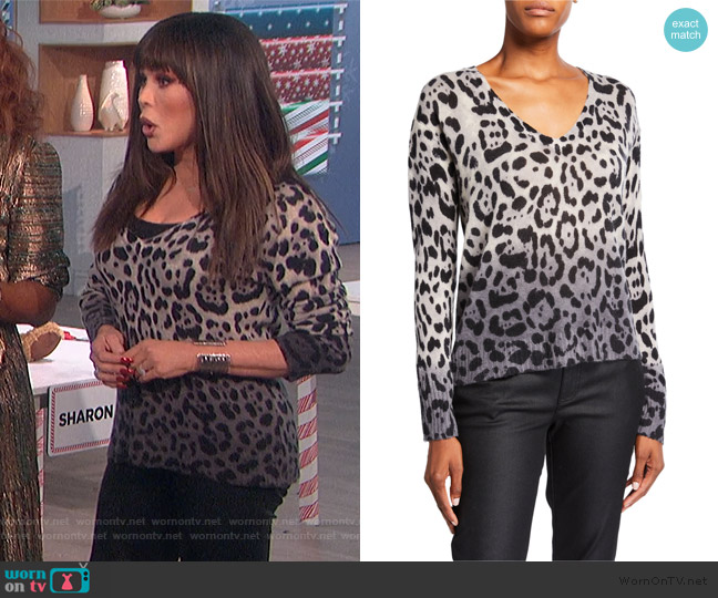 Lauren Leopard-Print Ombre Cashmere Sweater by 360 Sweater worn by Marie Osmond  on The Talk