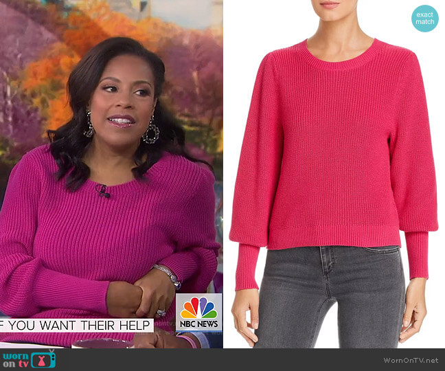 Ribbed Bishop-Sleeve Sweater by 525 America worn by Sheinelle Jones  on Today