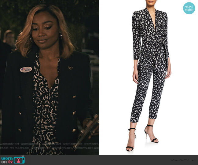 Kieran Leopard Jumpsuit by A.L.C. worn by Daisy Grant (Patina Miller) on Madam Secretary
