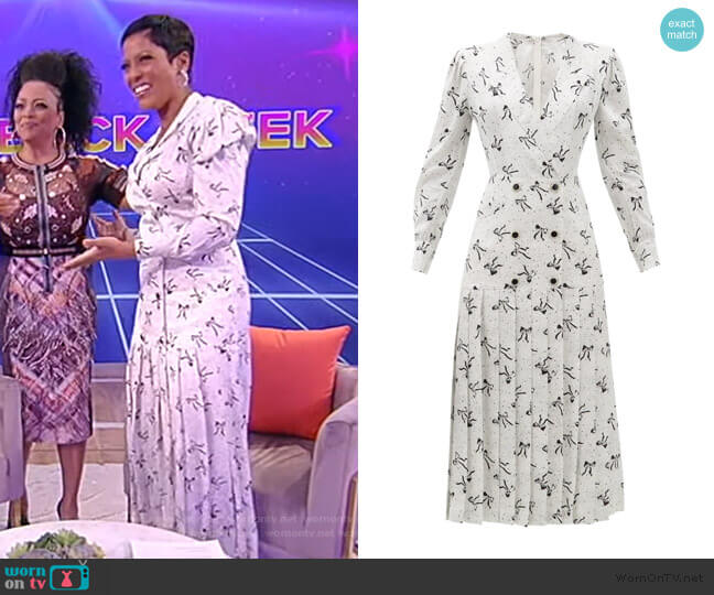 Bow and dot-print pleated-skirt silk dress by Alessandra Rich worn by Tamron Hall  on Tamron Hall Show