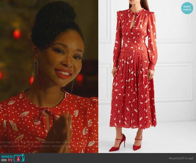 Silk-Jacquard Midi Dress by Alessandra Rich worn by Monica Colby (Wakeema Hollis) on Dynasty