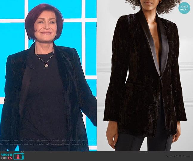 Lola satin-trimmed crushed-velvet blazer by Alice + Olivia worn by Sharon Osbourne  on The Talk
