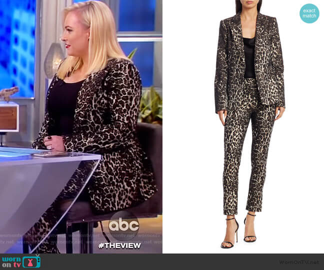 Toby Leopard Print Fitted Blazer and pants by Alice + Olivia worn by Meghan McCain  on The View