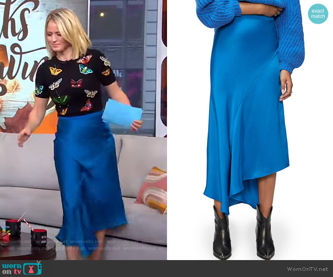 Bailey Asymmetrical Silk Skirt by Anine Bing worn by Sara Haines  on Good Morning America