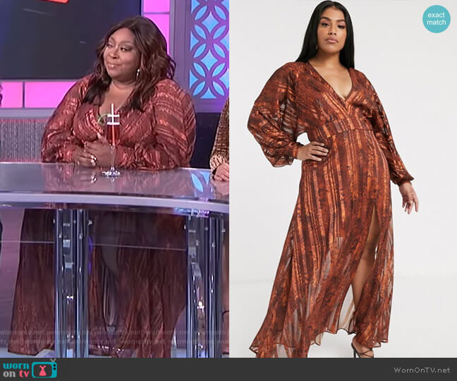 Curve Snake Print Maxi Dress in Self Stripe and Blouson Sleeve by Asos worn by Loni Love  on The Real