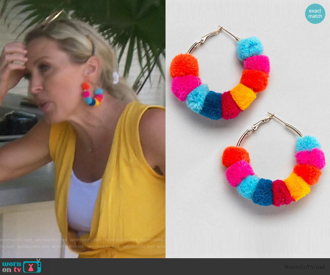 Multicolor Pom Pom Earrings by ASOS worn by Braunwyn Windham-Burke  on The Real Housewives of Orange County