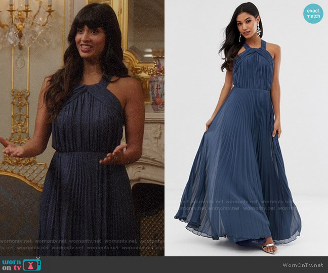 ASOS DESIGN pleated bodice halter maxi dress worn by Tahani Al-Jamil (Jameela Jamil) on The Good Place