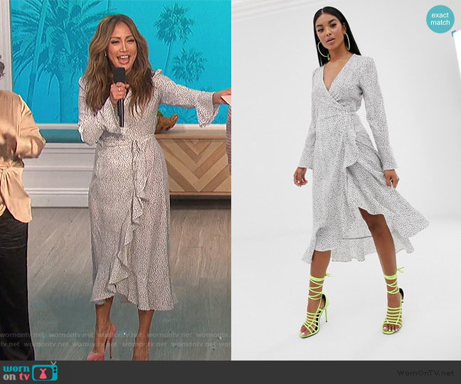 Pretty Lavish midi wrap frill dress in polka dot by ASOS worn by Carrie Inaba  on The Talk