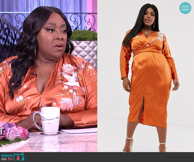 Batwing Midi Dress in Satin with Embroidery by ASOS worn by Loni Love  on The Real