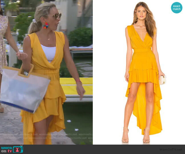 Madelyn Drape Maxi Dress by Aijek worn by Braunwyn Windham-Burke  on The Real Housewives of Orange County