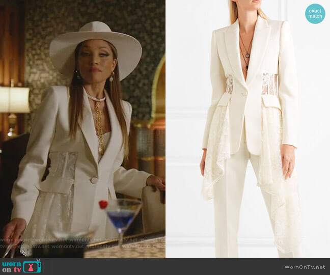 Asymmetric Wool-Blend Crepe and Lace Blazer by Alexander McQueen worn by Dominique Deveraux (Michael Michele) on Dynasty