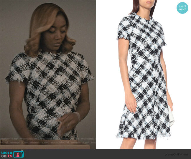 Checked tweed dress by Alexander McQueen worn by Daisy Grant (Patina Miller) on Madam Secretary