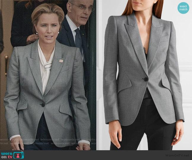 Wool-jacquard Blazer by Alexander McQueen worn by Elizabeth McCord (Téa Leoni) on Madam Secretary
