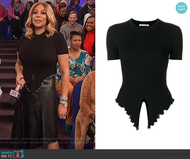 Embellished Knitted T-shirt by Alexander Wang worn by Wendy Williams  on The Wendy Williams Show