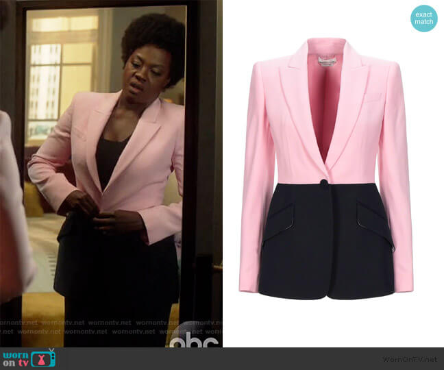 Bi-Color One-Button Jacket by Alexander McQueen worn by Annalise Keating (Viola Davis) on HTGAWM